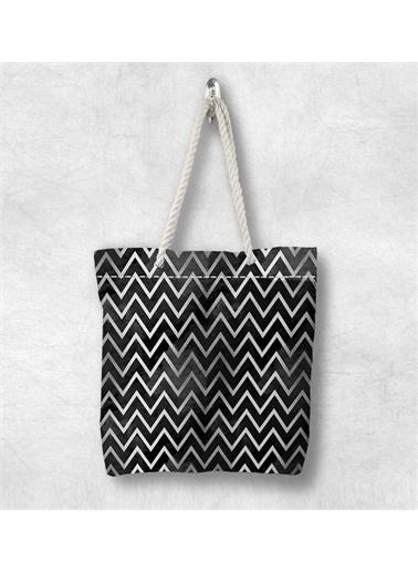 Else Halı Siyah Beyaz Çizgili 3D Desenli Fermuarlı Kumaş Omuz Çantası Renkli